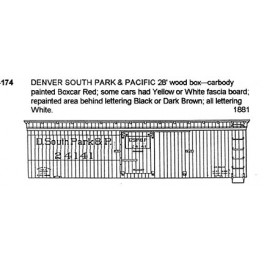 CDS DRY TRANSFER S-174  DENVER SOUTH PARK & PACIFIC 28' WOOD BOXCAR